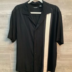 Mondo button down black shirt with white stripe